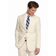 Nautica Tan Classic-Fit Suit Separate Coat ($96) ❤ liked on Polyvore featuring men's fashion, men's clothing, men's outerwear, men's coats, tan, mens tan coat and mens long coat