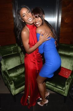 """Kelly Rowland and model Jessica White attend """"Hotel Noir"""" an exclusive launch event for GREY GOOSE Cherry Noir hosted by Kelly Rowland at Gansevoort Park Avenue"""