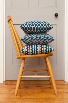 fanett vintage chair and bold Geometric Cushions & Blankets from Seven Gauge Studios Photo