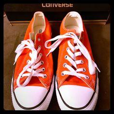 c450d9307af1 Shop Women s Converse Orange size 9 Sneakers at a discounted price at  Poshmark. Description  New orange converse shoes.