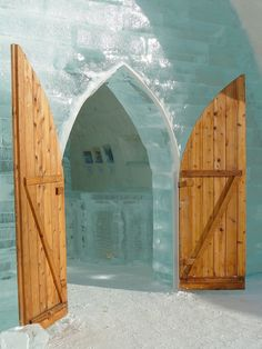Swedish Ice Hotel; though looks more like the doors to a Norse king's castle.