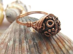 Bali copper ring wire wrapped cocktail ring by SunshineDaydreamz, $10.00
