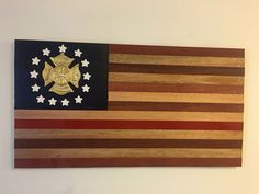 Mahogany wood - Fire Dept. Flag with red stripe