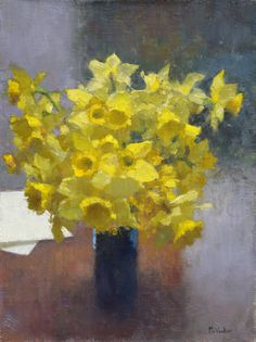 This was painted recently with daffodils from our yard. They are still out and spring is in the air.  16x12 oil on linen