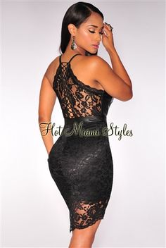 Fill your weekend fun with sultry vibes in this super-hot chic, black faux leather lace dress.