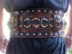 Dredmor's Signature Leather Cherry and Black Weaved Warrior Belt with Brass Buckle and Rings