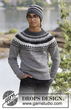 Dalvik - The set consists of: Men's knitted jumper with raglan, round yoke and multi-coloured Nordic pattern and knitted hat with multi-coloured Nordic pattern. Sizes S - XXXL. The piece is worked in DROPS Karisma. - Free pattern by DROPS Design Sweater Knitting Patterns, Knitting Designs, Knit Patterns, Free Knitting, Drops Design, Raglan Pullover, Icelandic Sweaters, Types Of Shirts, Knitted Hats