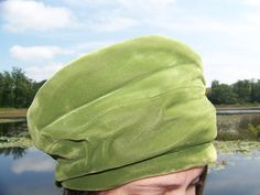 Vintage Union Made Green Velvet Ladies Hat with by lesaestes