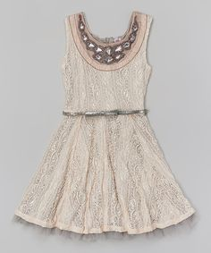 Look what I found on #zulily! Beautees Blush Jeweled Lace Dress - Girls by Beautees #zulilyfinds