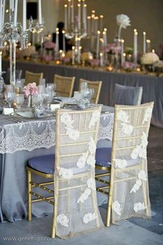 Wildflower Linen / Carolyn-Gene Higa Photography / Wildflower Linen in a lavender tone with Carolyn lace caps & a variety of lace chair covers. Florals in pastel colors & candlelight created by The Mille Fiore Wedding Chair Decorations, Wedding Chairs, Decoration Table, Wedding Themes, Wedding Table, Wedding Ideas, Wedding Blog, Wedding Inspiration, Trendy Wedding