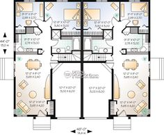 Browse our large selection of house plans to find your dream home. Duplex Floor Plans, Craftsman Floor Plans, Garage Floor Plans, Duplex Apartment, Apartment Plans, Custom Home Designs, Custom Homes, Duplex Design, House Design