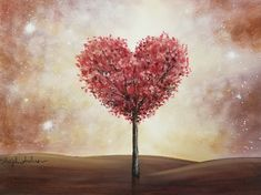 Free Acrylic Painting Tutorial by Angela Anderson on YouTube HEART TREE #valentinesday #heart #acrylicpainting #tree