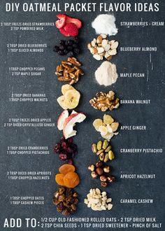 DIY Instant Oatmeal Packets + 8 Flavor Combinations