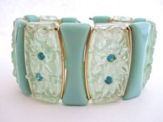 Cuff Bracelet Celluloid Lucite Turquoise by RenaissanceFair