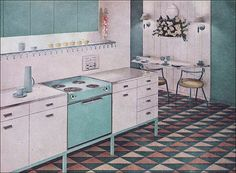half-square triangle floor! (side note: dig the aqua stove!)
