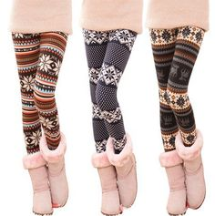 Fashion Stripe With Snowflake Leggings from 1Point99.com $11