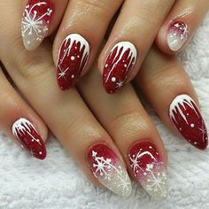 Xmas nail art, nail art noel, xmas nails, winter nail designs, winter n Xmas Nail Art, Cute Christmas Nails, Xmas Nails, Winter Nail Art, Holiday Nails, Cool Nail Art, Winter Nails, Red Nails, Winter Christmas