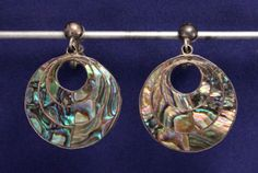 Vintage-Sterling-Silver-Abalone-Circular-Earrings-Mexico-925-Screw-Back-Dangle