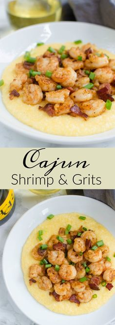 Cajun Shrimp and Grits - spicy shrimp with cheesy grits! Super simple recipe that feels very decadent. Perfect for brunch or a date night in! Cajun Shrimp and Grits - spicy shrimp with cheesy grits! Super simple recipe that feels very decaden Cajun Recipes, Fish Recipes, Seafood Recipes, Cooking Recipes, Recipies, Creole Recipes, Simple Shrimp Recipes, Spicy Shrimp Recipes, Cajun Shrimp And Grits