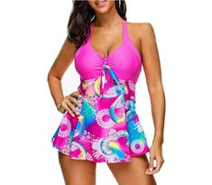 d2182aa2cfd mettime US Womens Sexy Candy Color Patchwork Floral Printed Plus Size  Tankinis 2 Pieces Bathing Suit