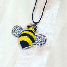 Save the Bees Statement Necklace Upcycled Enamel Bumblebee