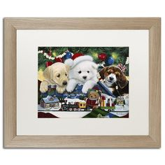 "Trademark Art ""Curious Christmas Pups"" by Jenny Newland Framed Graphic Art Size: 16"" H x 20"" W x 0.5"" D"