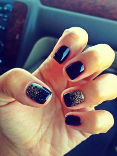 A rather ravishing nail art design in midnight blue background and gold dust on top.