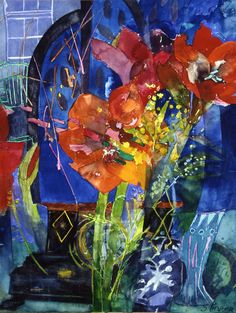 Red red amaryllis by Shirley Trevena