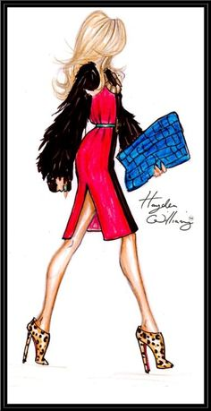Hayden Williams - this illustration screams money and elegance, the stance of her with her head held high is what every woman wants and gives off a inspiring feel. Once again the on trend outfit combining different textures and prints with the infamous curled hair.