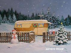 Paige Bridges Vintage Travel Trailer Art Westcraft Snowman Christmas Eve Snow Scene Christmas tree