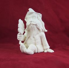 Ready to Ship, Ready to Paint- Ceramic Garden Gnome or Troll sitting and holding a flower, unpainted, 8 inches tall by aarceramics on Etsy