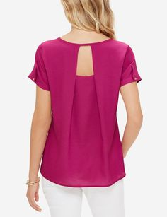 Wear this simple shell with your favorite suit for a traditional workplace look, or kick up a trendier one by showing off the flirty back details.