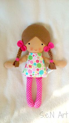 Baby first doll Fabric Doll Hand Made Rag dolls Textile by SenArt1: