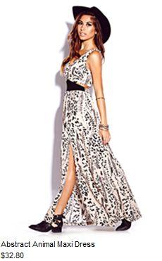 Abstract animal maxi dress #f21