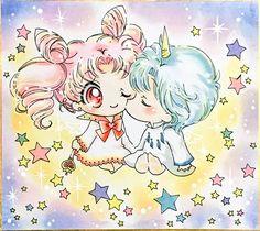 Chibiusa and Helios Sailor Saturn, Sailor Mars, Arte Sailor Moon, Sailor Moon Fan Art, Sailor Moon Character, Sailor Moon Manga, Sailor Venus, Sailor Neptune, Sailor Mercury