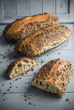 """Seed bread   Hungry Shots \ """"This is one of the best breads I made in terms of quality of the crumb. Big holes and an interesting structure inside. As taste, it has the beautiful flavor of sourdough. The seeds on the crust come with a nutty flavor."""""""