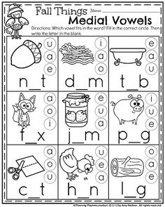 Fall Kindergarten Worksheets for November - Planning Playtime Phonics Reading, Teaching Phonics, Phonics Activities, Kindergarten Literacy, Reading Activities, Jolly Phonics, English Activities, Children Activities, Early Literacy