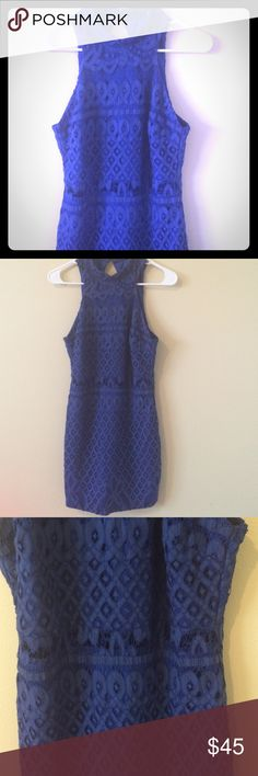 Blue dress! Halter neck. Intricate design. Lined except for at the stomach there's a small line with just the lace fabric, but no lining underneath. apricot lane Dresses