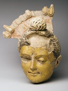 Buddha head excavated in Bactria 3rd century  National Museum of Afghanistan