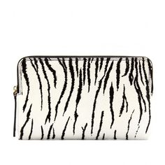 Lanvin Zebra-Print Haircalf Clutch (800 CAD) found on Polyvore featuring women's fashion, bags, handbags, clutches, purses, carteras, white, haircalf handbags, zip purse and man bag