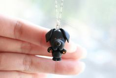 Sky the Black Labrador Necklace -Sterling silver-