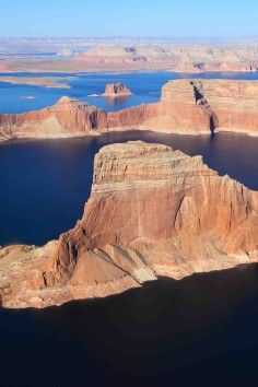 Lake Powell is a reservoir on the Colorado River, straddling the border between Utah and Arizona.