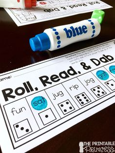 A fun way to practice CVC words. My kids love this partner game! They roll the die and read the word. First player to dab or cover all of the words, wins!