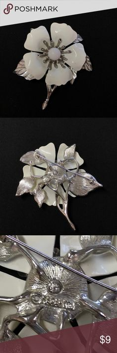 Vintage Sarah Coventry Flower Brooch 🌸 Vintage silver and white enamel flower brooch! There is some wear on the white enamel. Approximate measurements: Height 3 inches x Width 2.5 inches Jewelry Brooches