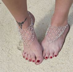 Silver and Swarovski Barefoot Beach Wedding Sandals - by MySmittenBoutique on Etsy