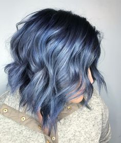 63 Lastest Hair Color Design For Shoulder Length Hair - Page 55 of 63 - Fashion . Perfect Hair Color, Cool Hair Color, Box Hair Colors, Wild Hair Colors, Ombre Hair Color, Purple Hair, Short Blue Hair, Blue Gray Hair, Blue Hair Balayage