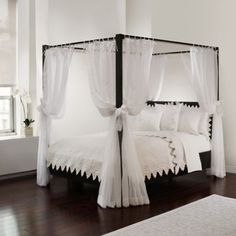 Provide an extra-luxurious ambience for your canopy bed with this Tie Sheer Bed Canopy Curtain Set. In a translucent white fabric with a beautiful drape, the curtains will create your own special space and add an elegant touch to your bedroom.