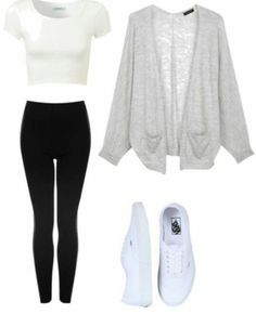 Tight white crop top with black pants a gray cardigan and white vans. I pretty much have this outfit but its super cute