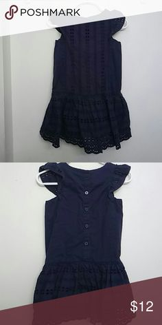 Toddler Girls Navy Eyelet Dress 3t Toddler Girls Deep Navy Eyelet Cut out sleeve dress. Excellent Used Condition! No stains/rips/tears. Cherokee Dresses Casual