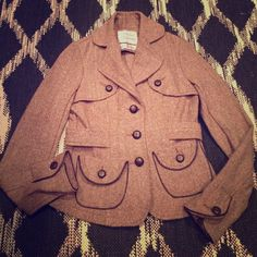 Vintage blazer jacket 20% wool 80% polyester   Stunning unique piece. It appears that trimming is leather. Not 100% positive. I would keep for myself but it's too small. Absolutely beautiful urban behavior  Jackets & Coats Blazers